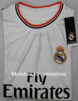 wholesale factory price new white short sleeves T-shirt for men fan version real madrid home jersey 13-14