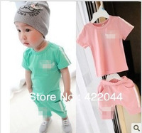 Free shipping (2colors) 2013 new korea baby 100%cotton Suits , boy/girl 's short sleeves suits
