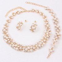 Wholesale Classic Imitation Pearl Necklace Set 3pcs Gold Plated Elegant Party Pearl Women Bridal Wedding Jewelry Sets