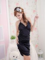 Sexy Lingerie Black Lace Dress+Underwear Sleepwear,Underwear ,Uniform free shopping Free Size(Dress+Underwear)