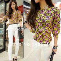 Chic Casual Tee T-Shirt Women Chiffon Blouse Tops Geometric Printed Short Sleeve CY0600 dropshipping free shipping