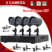 Free shipping 4 Channel IR Weatherproof Surveillance CCTV Camera Kit,Home Security DVR Recorder System