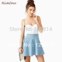 Fashion Casual Fresh Fashion Street Style Women Cute Cotton Cowboy Denim Skirt Blue Colorful High Waist Ruffles Bottom New D128