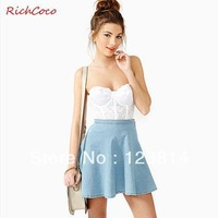 Richcoco Fresh Fashion Street Style Women Cute Cotton Cowboy Skirt High Waist Ruffles Bottom Hem Free Shipping D128