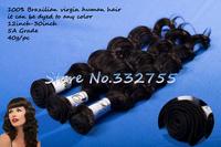 AAAAA  Grade 100%  Virgin Human Brazilian Hair Extensions  Deep Wave 40g/pc=1.4oz/pc 1b # FREE SHIPPING