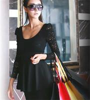 2013 New Style Elegnat Lace patchwork ladies print dress black women casual dress