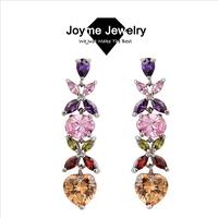 Joyme brand New 2014 Luxury AAA Quality Colorful Zircon long Earrings Flower Drop earring Women's Jewelry Drop Earrings