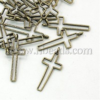 Tibetan Style Pendants,  Lead Free,  Nickel Free and Cadmium Free,  Cross,  Antique Bronze Color,  39x16x1.5mm,  Hole: 1mm