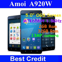 """Free shipping Original Amoi A920w Big V2 MTK6589T quad core 1.5GHz 5.0"""" OGS IPS 2GB RAM 32GB Android 4.2 mobile phone 13MP/Kate"""