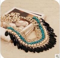 New Fashion Bohemia Temperament Rhinestone Dickie Tassels Multilayer Gem Bead Choker Necklaces&Pendants For Women Jewelry A434