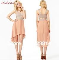 Free Shipping Women Fashion Colorful Dress Hollow Out Asymmetrical Bust Wrap Deep V-Neck Chiffon Club Dress Summer Vestidos D142