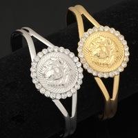 Vintage Items Lion Head Beautiful Medusa Rhinestone Cuff  Bangles Bracelets 18K Gold Plated Jewelry For Women Or Men MGC H702
