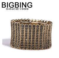 BigBing  fashion jewelry retro gold finishing metal carved full rhinestone brief ultra wide elastic bracelet  L618