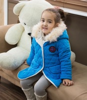free shipping Winter cotton-padded clothes girls children long style down jacket  cotton-padded jacket
