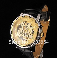 Luxury Mechanical wrist Watch Mens vintage Free shipping,wholesale Gold Tone Skeleton Leather steampunk womens brand hand wind