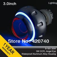"3GQB 3W Angel Eyes CCFL 3.0"" 35w inch hid Bixenon Projector Lens for Headligh H1 H7 H4 H13+2pcs 35W AC Ballasts Igniters"