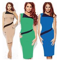New Fashion Womens Optical Illusion slimming Stretch bodycon Business Pencil Midi Dress D0086