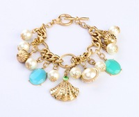 Hot Sell Retro European New Metal Shell Pearl Alloy Charm Bracelets For Women High Quality Free Shipping