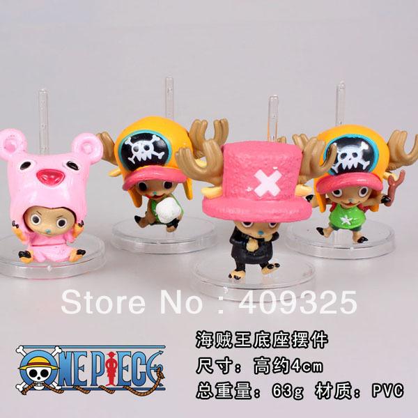 New Japana Anime Cartoon 4pcs/set One pieces Chopper style PVC Action & toy figures dolls tall 5cm set(China (Mainland))