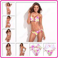 New RELLECIGA Flower Triangle Halter Women Sexy Bikini Set Brazilian Swimwear Swimsuit Bathing Suit Push-up Free Shipping
