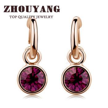 Top Quality ZYE416 Dark Purple Crystal 18K Rose Gold Plated Stud Earrings Jewelry   Austrian Crystal Wholesale