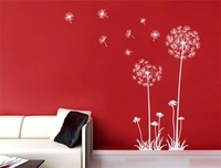 Free Shipping The wind of the dandelion Wall Art Stickers DIY Home Decoration Wall Plastic Removable Bedroom Stickers 120x 65cm