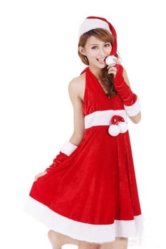 Free Shipping Red Christmas Dress with Balls,Plush Christmas Costumes,Women Saint Costumes(Dress+Hat+2Pcs Handwear)