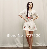 Summer new Ethnic embroidery waist round neck sleeve dress