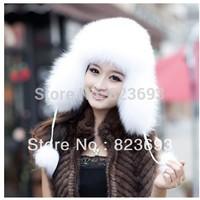 Hot  Best Christmas gift New Arrival Fashion women 100% genuine fox hair hat +fashion fox fur cap+warm winter cap free shipping!