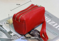 Free shipping 2013 double zipper genuine lather coin purse,small change women's coin wallet,first layer cowhide pouch for Iphone