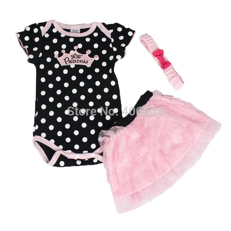 2014 summer baby Set romper headband skirt girl fashion cotton toddler jumpsuit infant outfits bodysuit 3 pcs baby clothing set(China (Mainland))