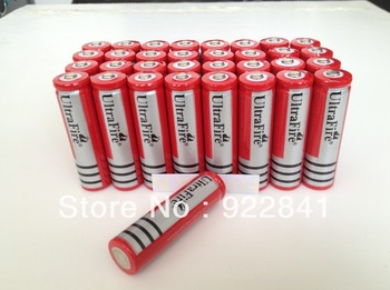 Big Discount+Free Shipping,20pieces/lot ultrafire RED 18650 3.7V Rechargeable Battery 4000mAh for LED Flashlight, Laser pen
