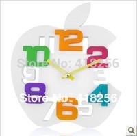 Free shipping  living room personality cartoon silent clock  European fashion creative big clock cute Apple child watch