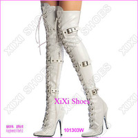 Thigh high lace up women size 11 12 cm high heels stiletto heels buckle pointed toe stiletto Women thigh high boots
