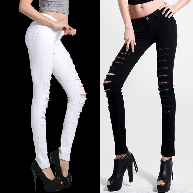 2014 Hot Fashion Ladies/Female Cotton Denim Ripped Punk Cut-out Women Sexy Skinny pants Jeans Leggings Trousers Black / White(China (Mainland))