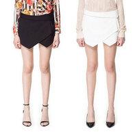 2014 new fashion elegant Black white Asymmetrical Geometric Shape shorts  casual brand designer shorts free shipping DS161