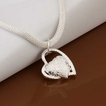 Hot Sale Free Shipping 925 Silver Necklace Fashion Sterling Silver Jewelry Inlaid Stone Heart Necklace SMTN270