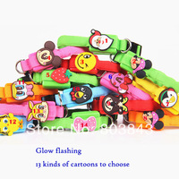 Nylon 13 kinds of Novelty Cute Cartoons LED Glowing Small Dog Pet Collars Flashing Outdoor Safety