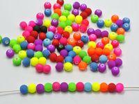 "500 Mixed Matte Fluorescent Neon Beads Acrylic Round Beads 6mm(0.24"")"