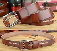 100% Genuine Leather Double Pin Buckle Vintage Belts For Men Long 130CM Brown Jeans Belt Man Straps Men's Cinto Ceinture TBT0070