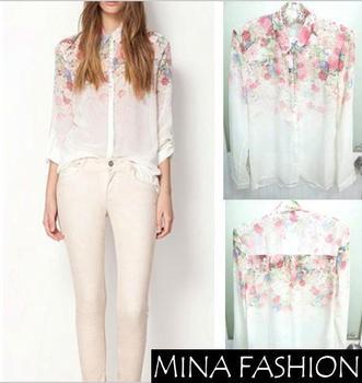 2014  NEW Lady Casual New Lapel Collar Button Flowers Tops Chiffon Long Sleeve Women Shirt  Women Chiffon Top Hot Sale KK-4086