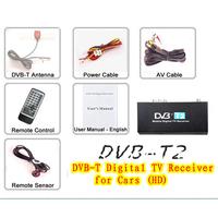 Mobile Car Digital DVB-T2 Receiver H.264 MPEG4 HD Tuner 40km/h Digital TV Receiver Box set top DVB-T2 Free shipping