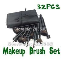 Free Shipping Drop Shipping New Fiber Hairy Professional Makeup Brushes Cosmetic Set Makeup Brush 32pcs + Black Leather Bag