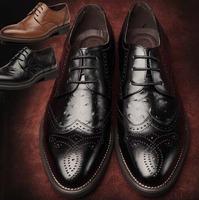 Genuine leather Men dress shoes, brown black oxford shoes for men,leather men shoes oxford  2014