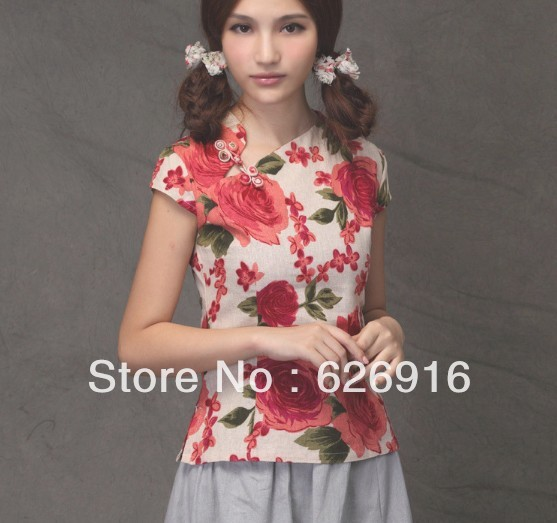 Free Shipping Wholesale Fashion and elegant Red Flower Print women/ Lady's Lovely Clothes Garment(China (Mainland))