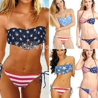 2014 Sexy Women Summer Stars And Stripes USA Flag Bikini Swimsuit Padded Tassel Fringe Bandeau American Swimwear 4 Styles