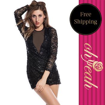 Fashion Trend New Sexy Ladies' Paillette Party Dress Black Sequin Backless Grorious Club Wear Dresses Plus Size  R7543