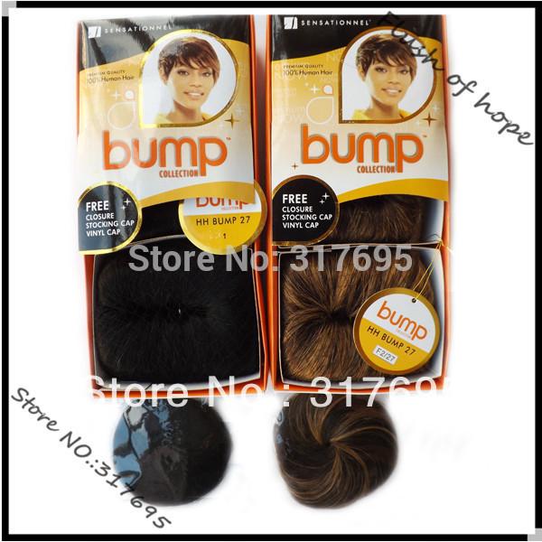 Free Closure and Stocking/Shower Cap Sensationnel Bump 27pcs Human Hair Extensions Human Hair Weaving Weft 3pcs/pack 6Packs/lot(China (Mainland))