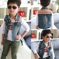 New 2013 boy girls kids pentagram baby vest clothing jacket casual vest for boys, child waistcoat children outerwear