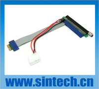 PCI-E PCI E Express 1X to X16 Riser Card Flexible ribbon Extender Cable with molex power supply cable for bitcoin miner
